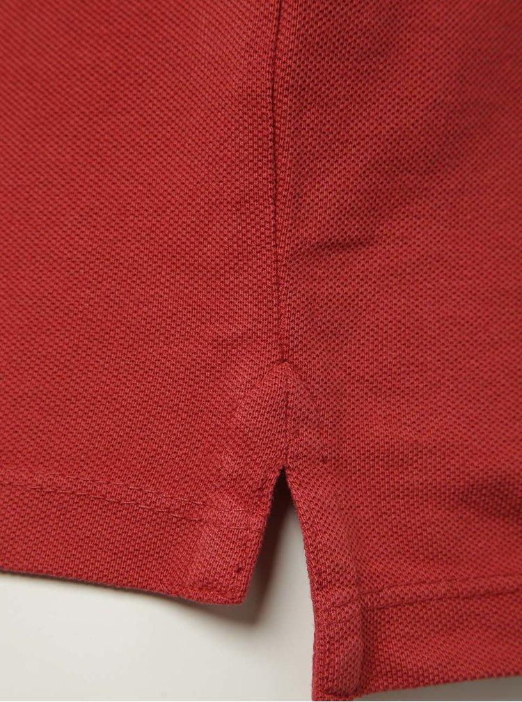 Tricou polo roșu Blend cu șlițuri laterale