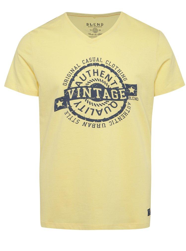 Tricou galben Blend cu print
