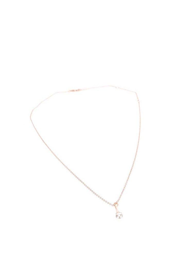 Pozlacený řetízek v růžovozlaté barvě s perlovým přívěskem  Pilgrim
