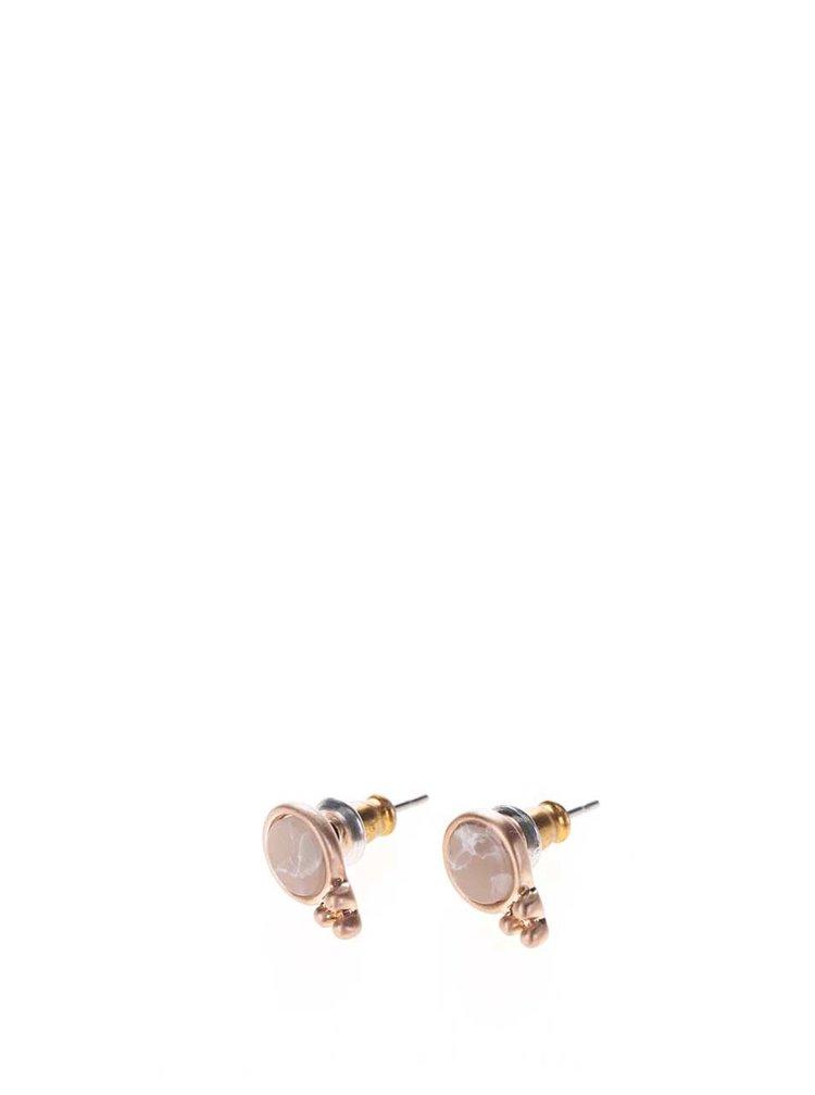 Pozlacené náušnice v růžovozlaté barvě ve tvaru koleček Pilgrim