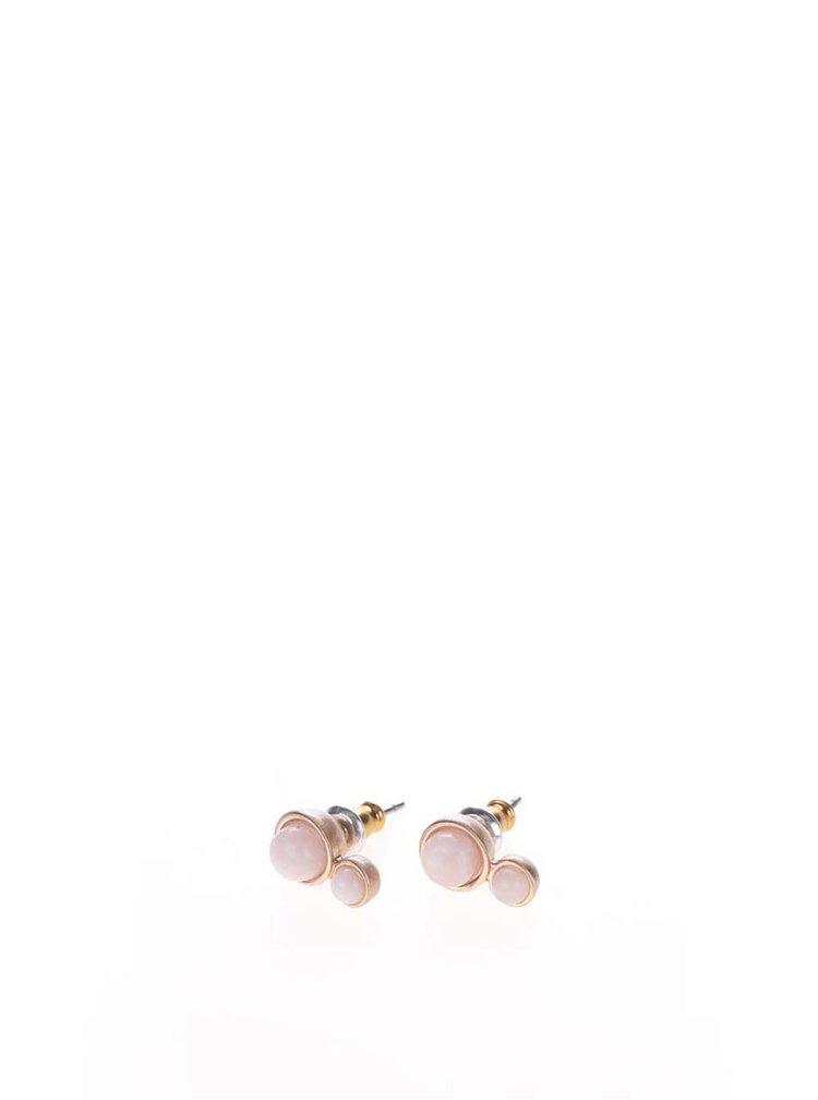 Pozlacené náušnice v růžovozlaté barvě ve tvaru dvou kuliček Pilgrim