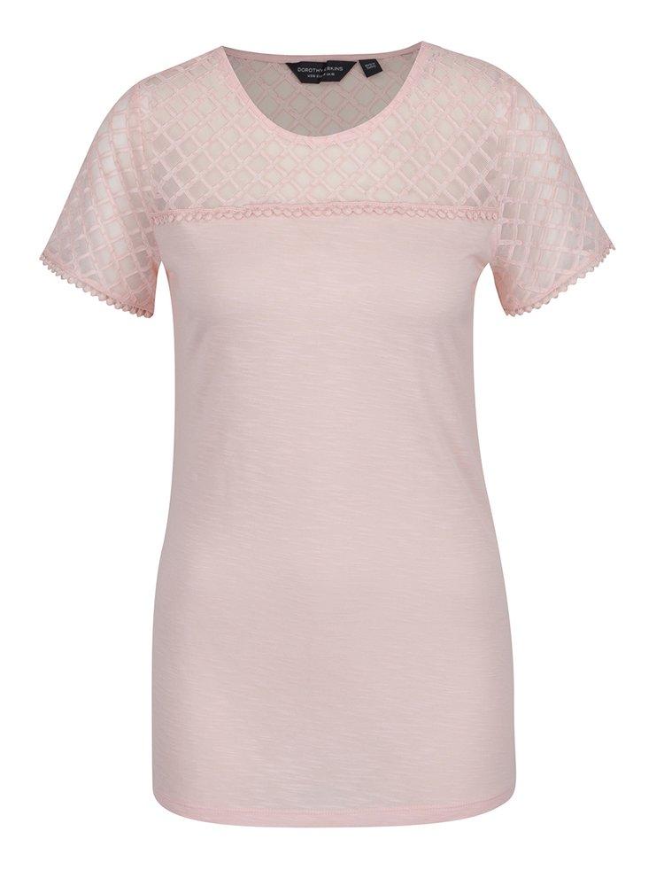 Světle růžové tričko s průsvitnou vrchní částí Dorothy Perkins Tall