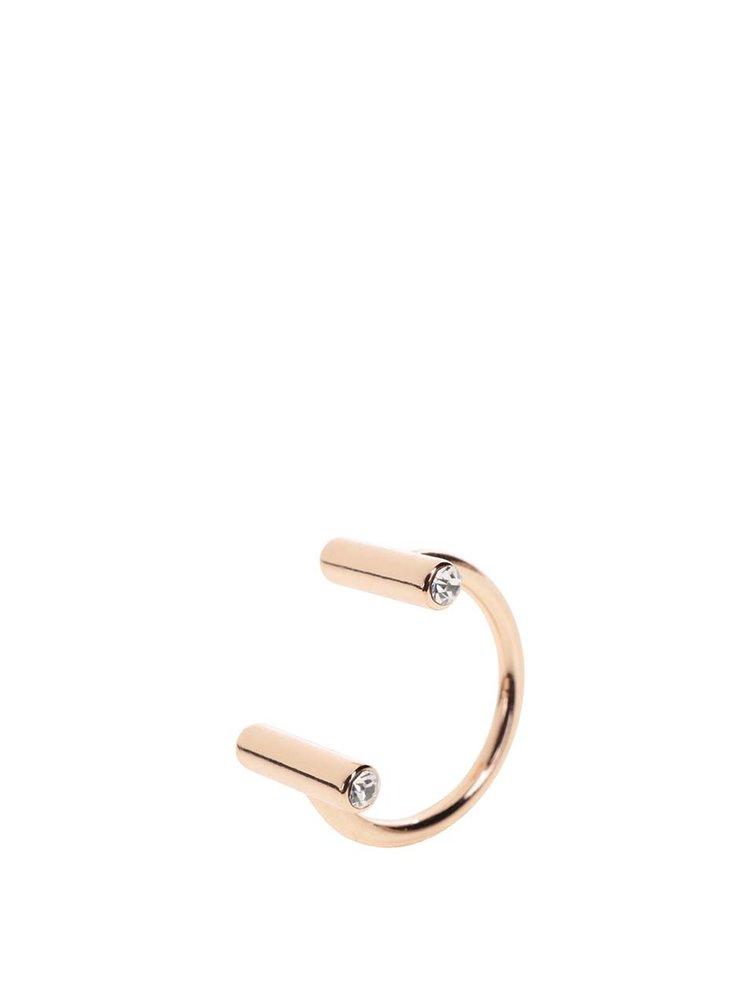 Pozlacený prstýnek v růžovozlaté barvě s ozdobnými kamínky Pilgrim
