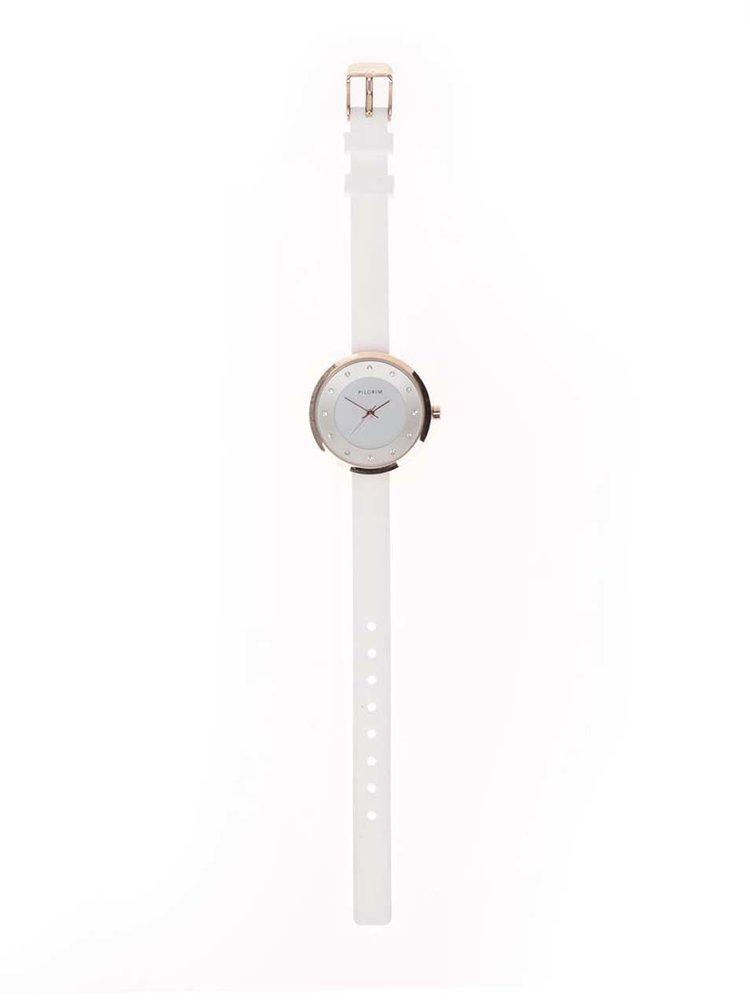 Dámské pozlacené hodinky v růžovozlaté barvě se silikonovým páskem Pilgrim