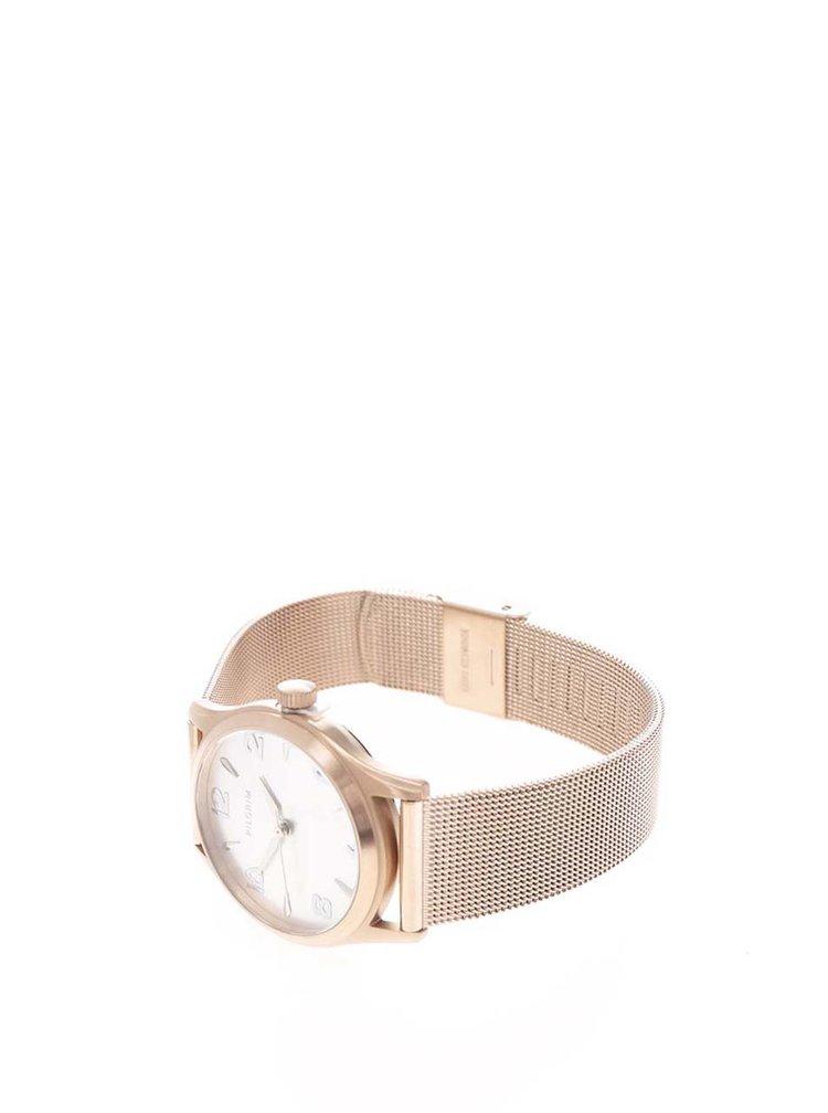 Dámské pozlacené hodinky v růžovozlaté barvě s nerezovým páskem Pilgrim
