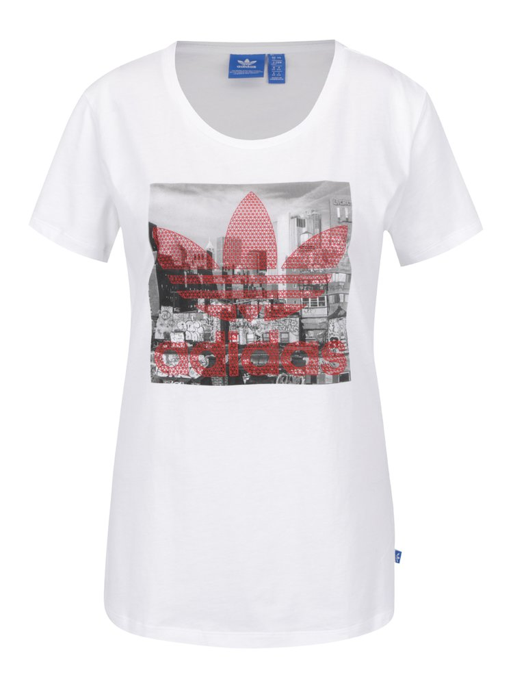 Bílé dámské tričko s potiskem adidas Originals Trefoil