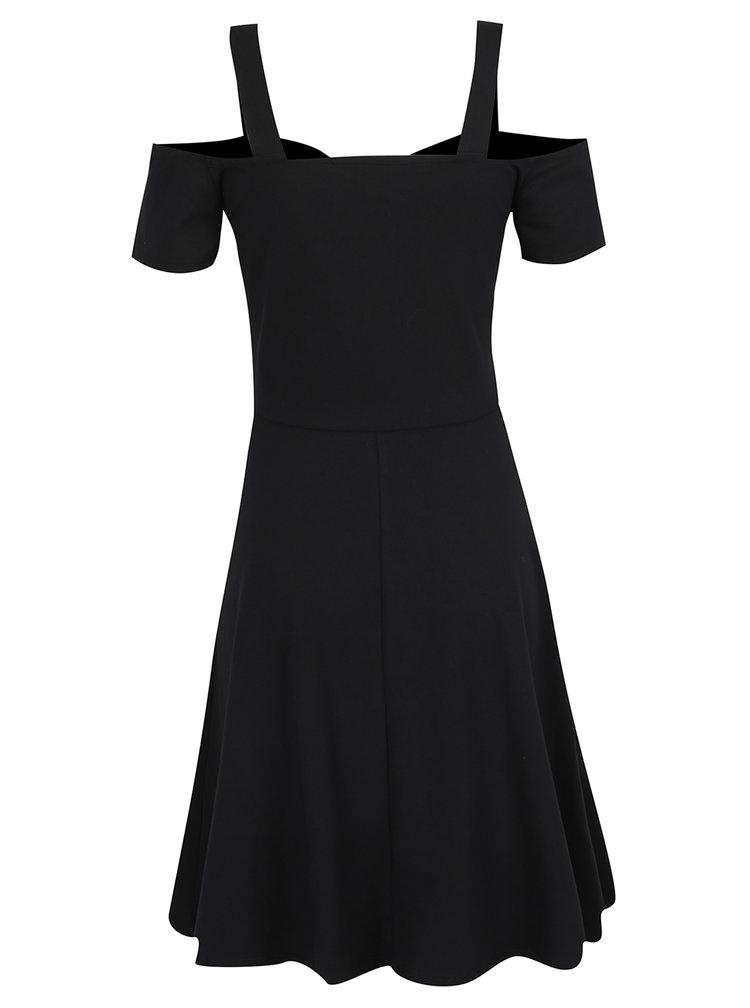 Černé šaty s odhalenými rameny a rozšířenou sukní Dorothy Perkins Tall