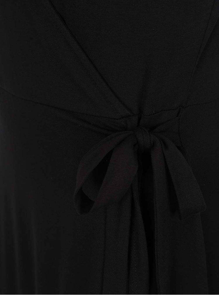 Černé šaty s překládaným výstřihem Dorothy Perkins Tall