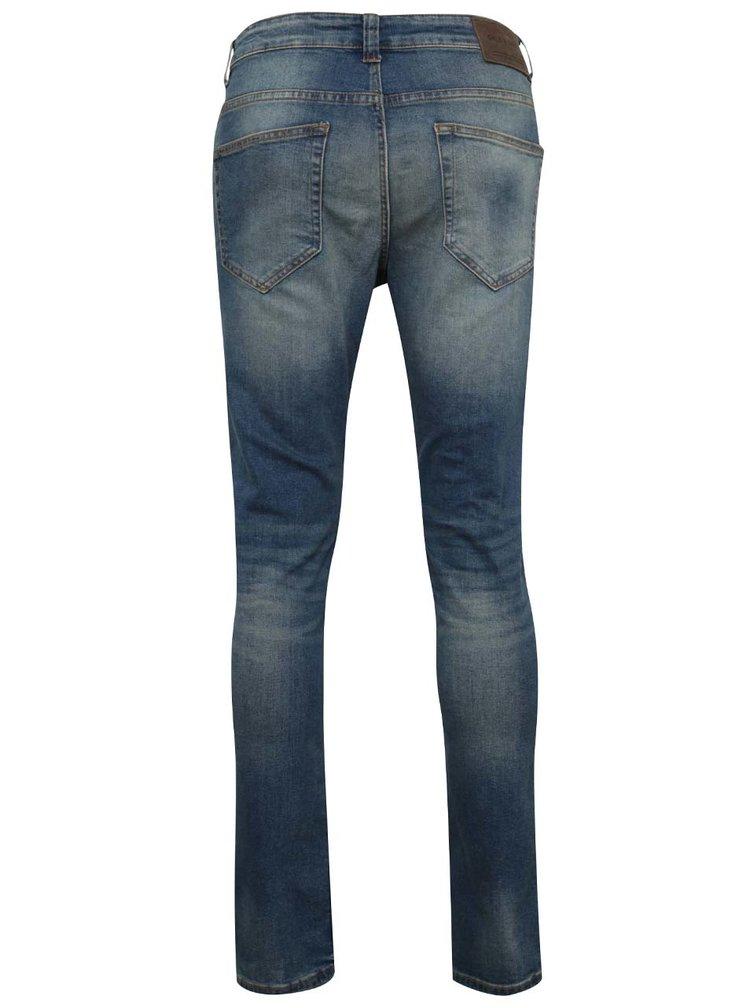 Tmavě modré slim džíny s výrazným vyšisovaným efektem ONLY & SONS Loom