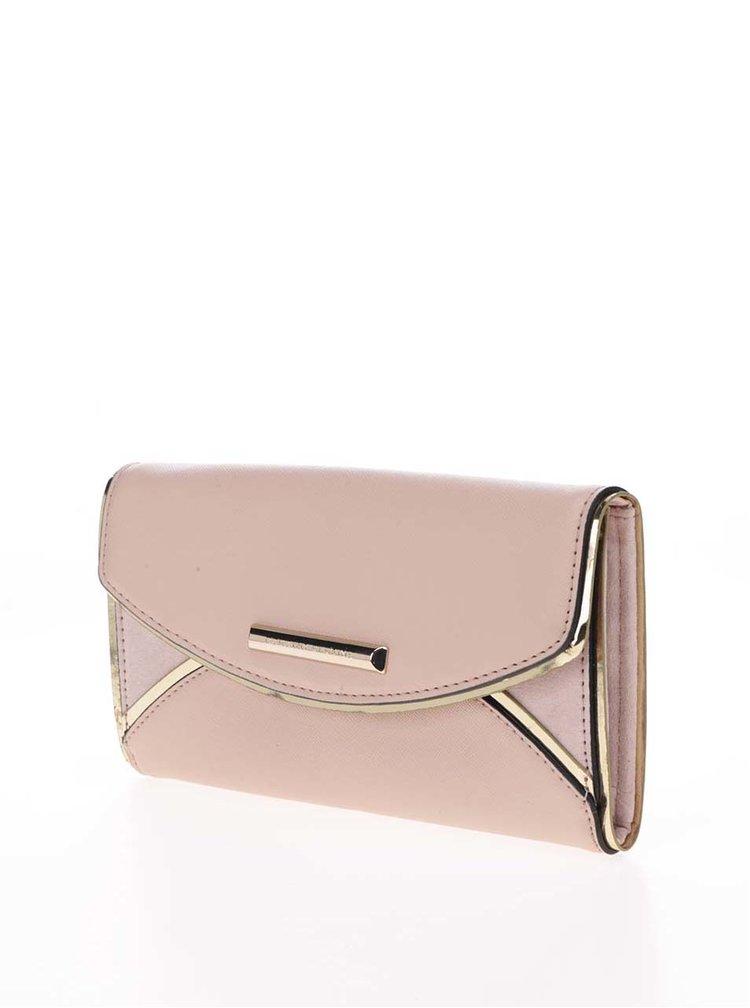 Světle růžová peněženka s detaily ve zlaté barvě Dorothy Perkins