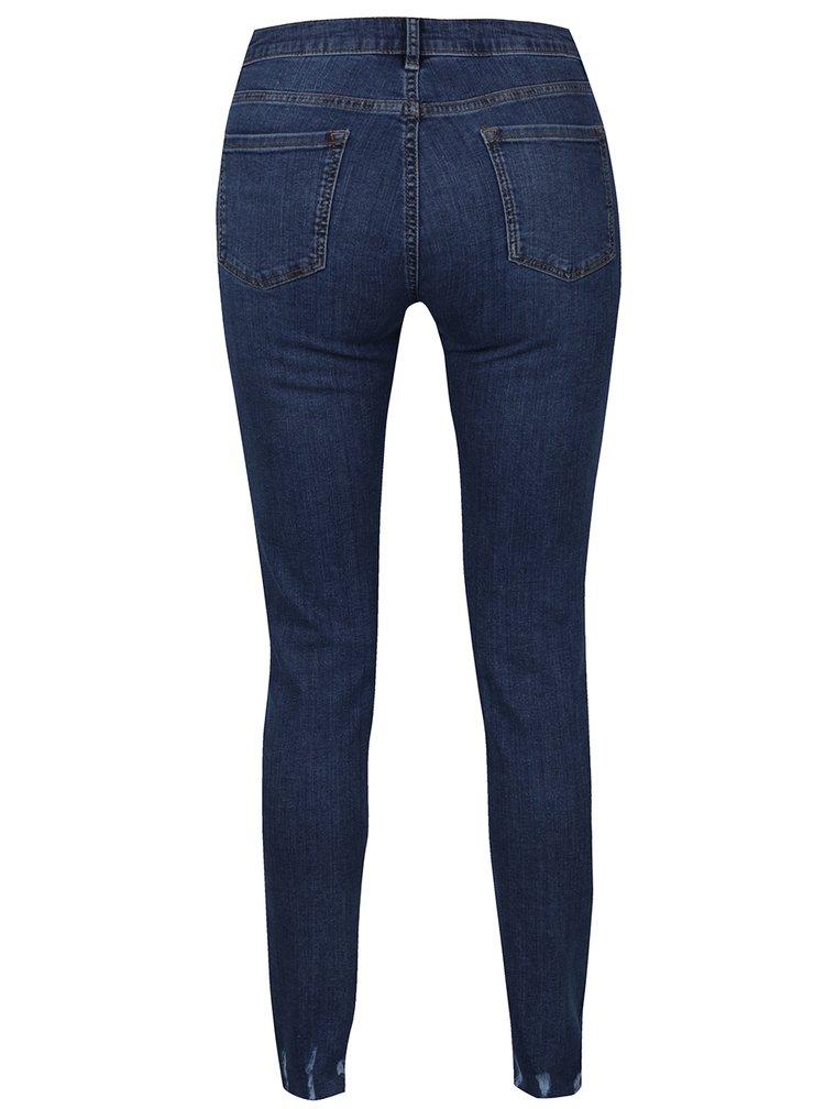 Tmavě modré džíny s potrhaným efektem lemu nohavic Dorothy Perkins Tall