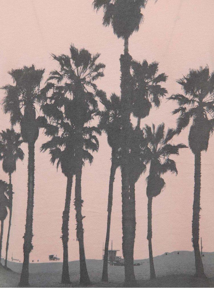 Růžové triko s potiskem palem Blend