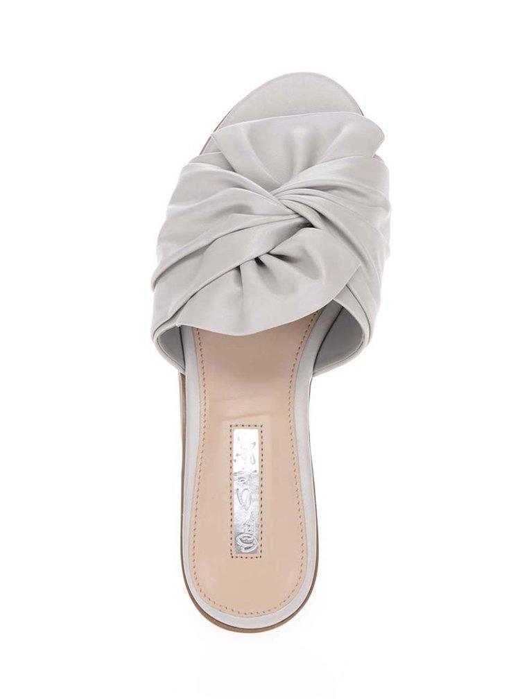 Světle šedé pantofle s uzlíkem Miss Selfridge