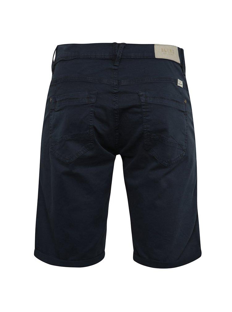 Pantaloni albastru inchis Blend cu terminatii indoite