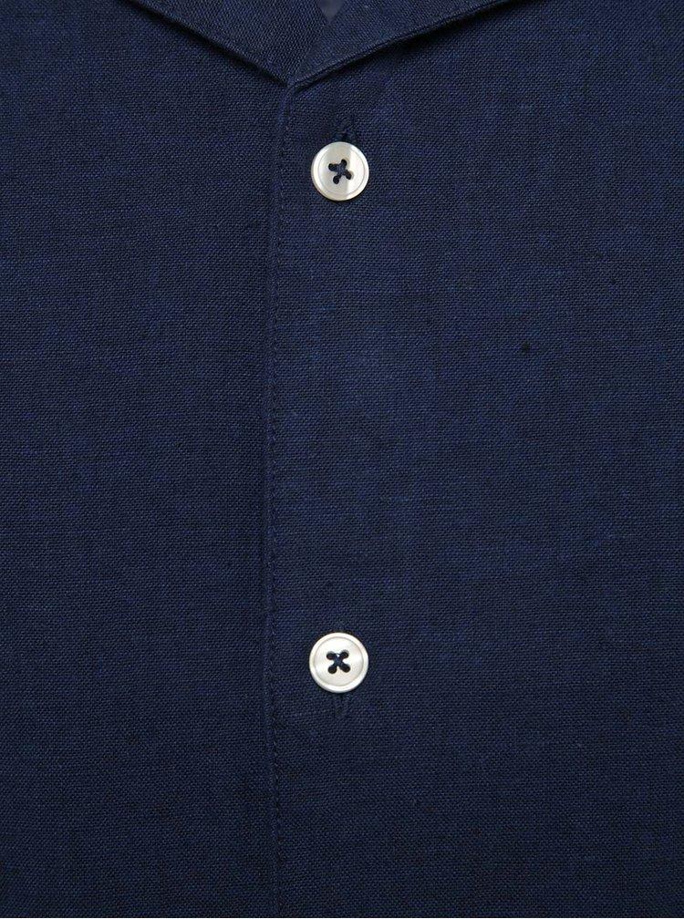 Tmavě modrá lněná košile s krátkým rukávem Burton Menswear London