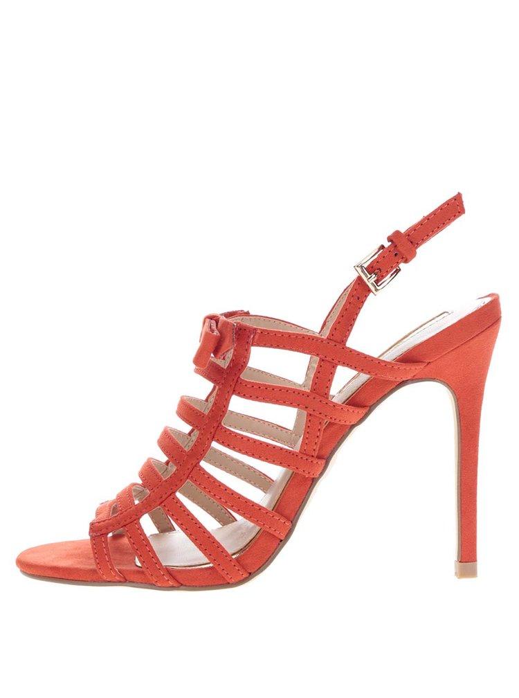 Červené sandálky v semišové úpravě Miss Selfridge