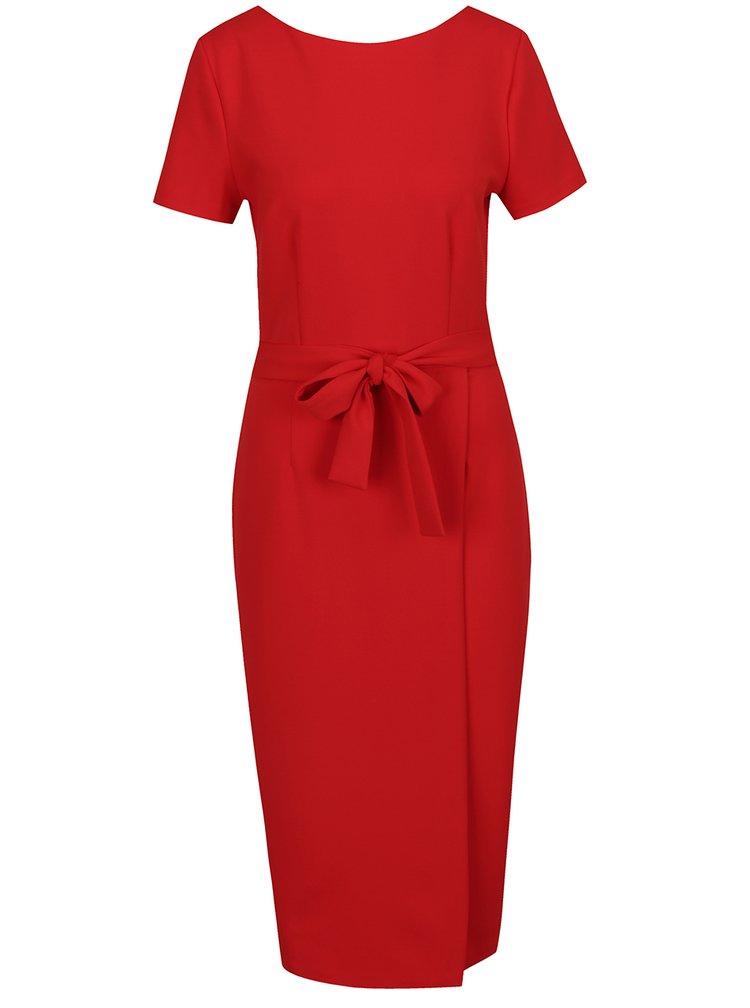 Červené šaty s výstřihem na zádech a zipem ve zlaté barvě Dorothy Perkins Tall