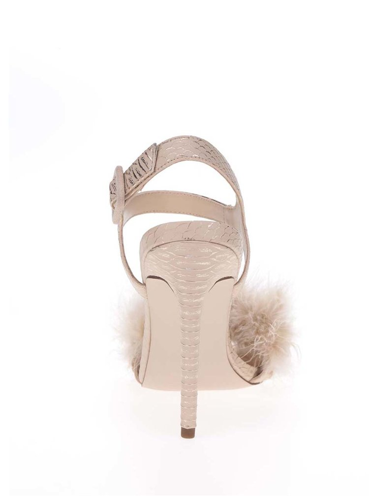 Sandale bej  Miss Selfridge cu aplicație cu puf