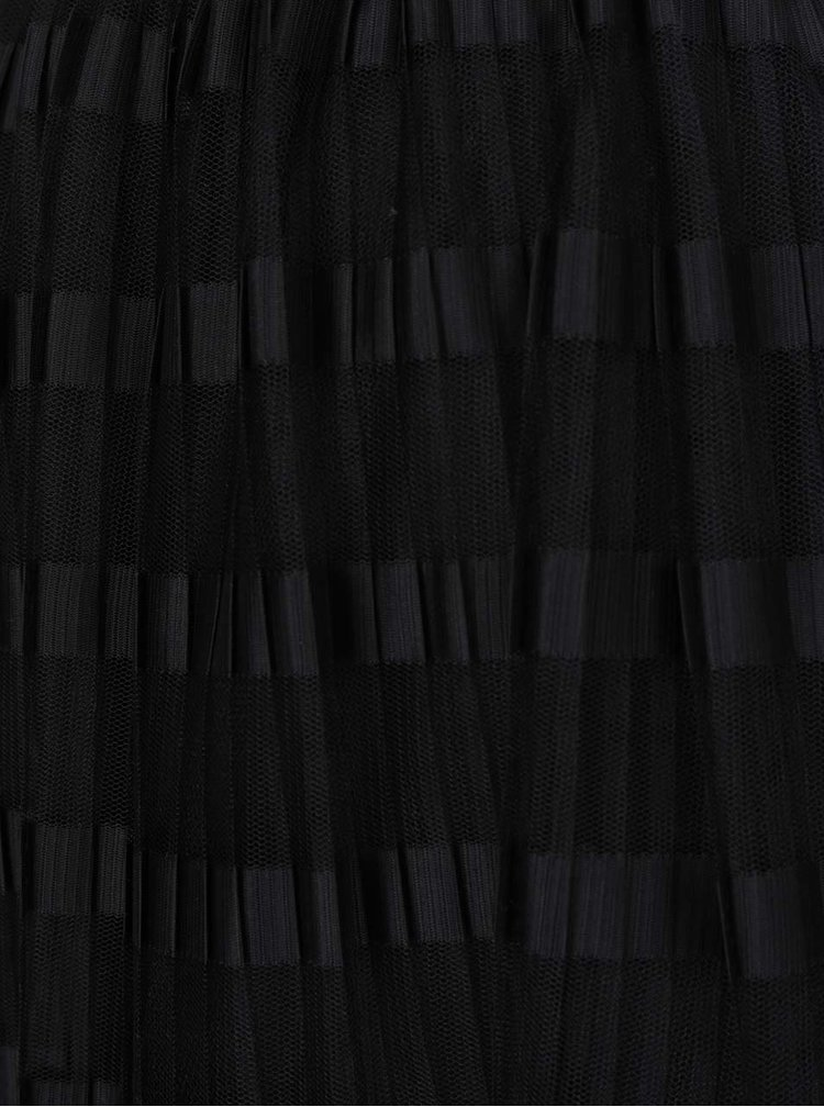 Černá pruhovaná plisovaná midi sukně Miss Selfridge