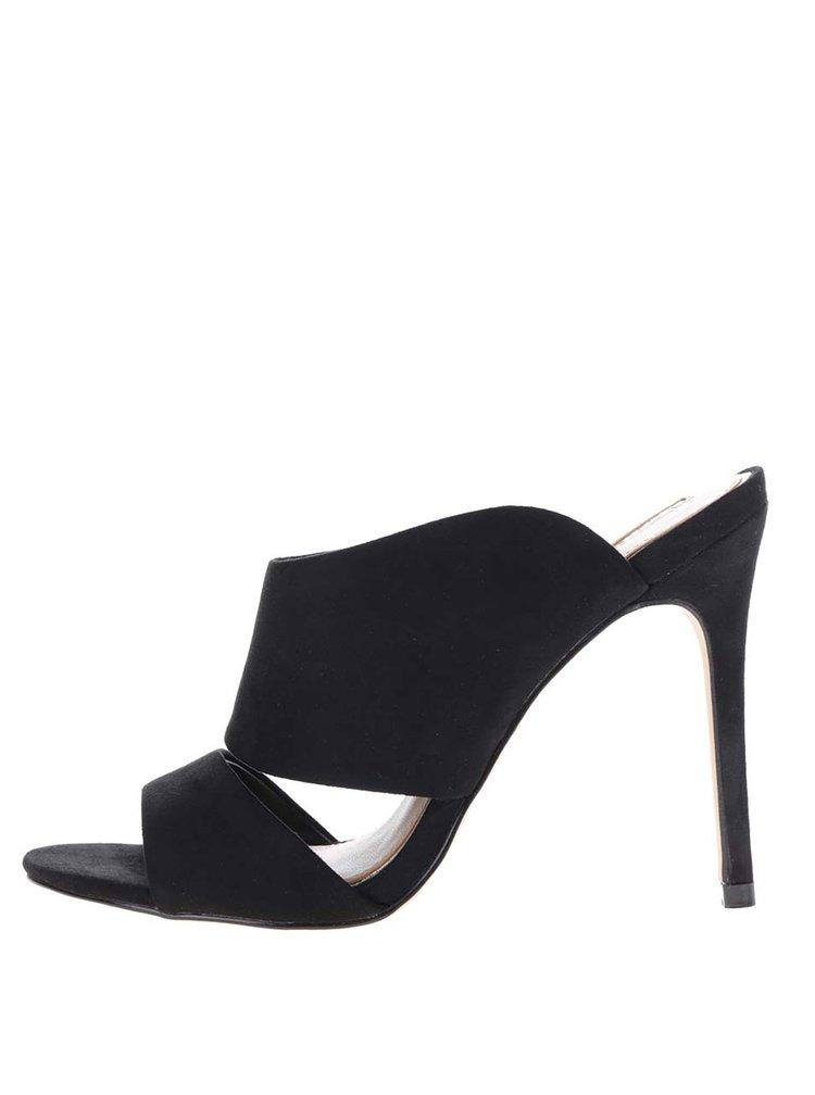Černé pantofle v semišové úpravě na jehlovém podpatku Miss Selfridge