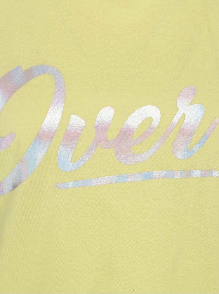 Tricou galben cu print holografic Miss Selfridge