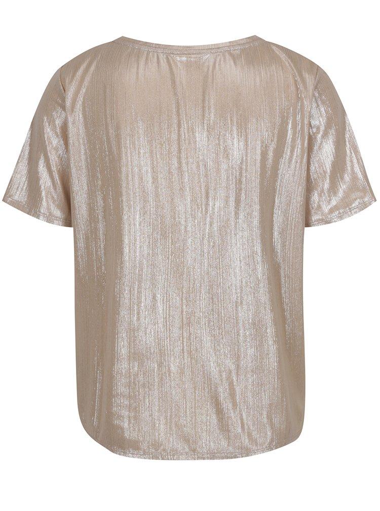 Triko v béžovozlaté barvě s krátkým rukávem VILA Rittes