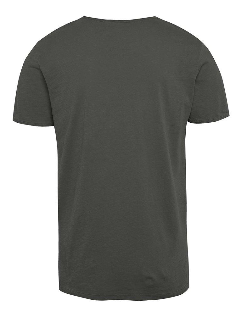 Šedé triko s knoflíky Jack & Jones Ben