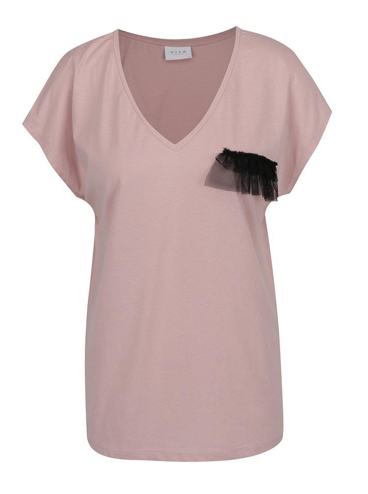 Starorůžové tričko s ozdobným detailem VILA Dreamers
