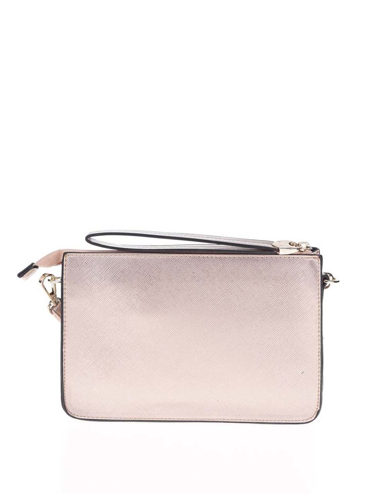 Malá crossbody kabelka/psaníčko v růžovozlaté barvě Miss Selfridge