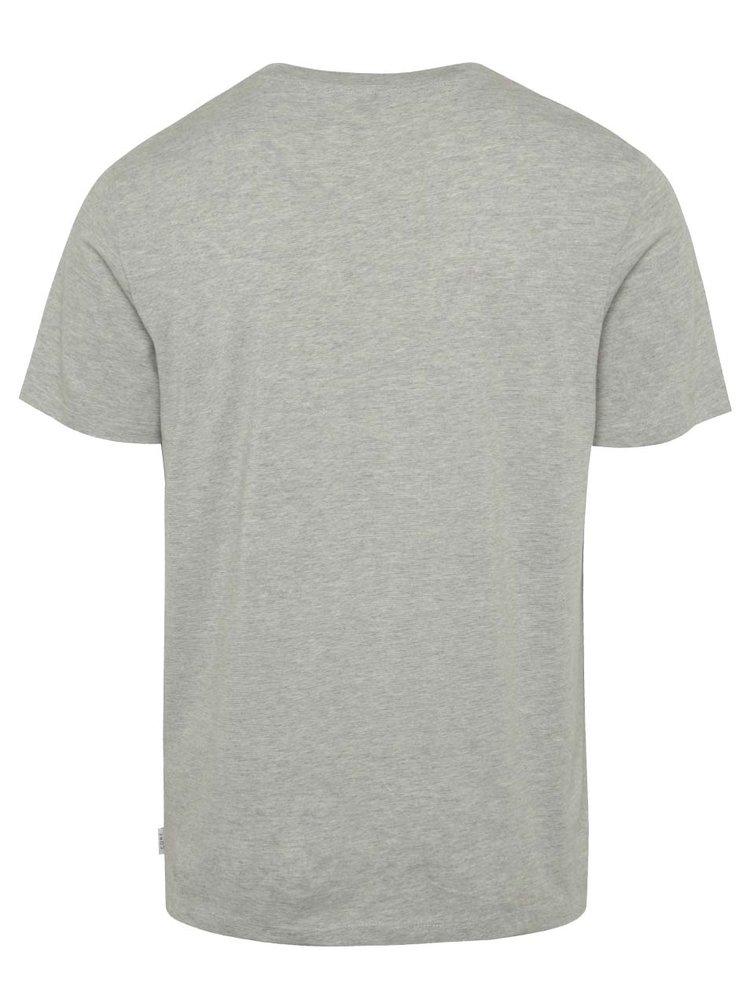 Světle šedé triko s potiskem Jack & Jones Crown