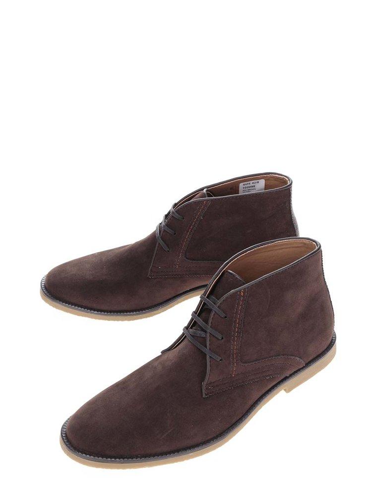 Hnědé kotníkové boty v semišové úpravě Burton Menswear London
