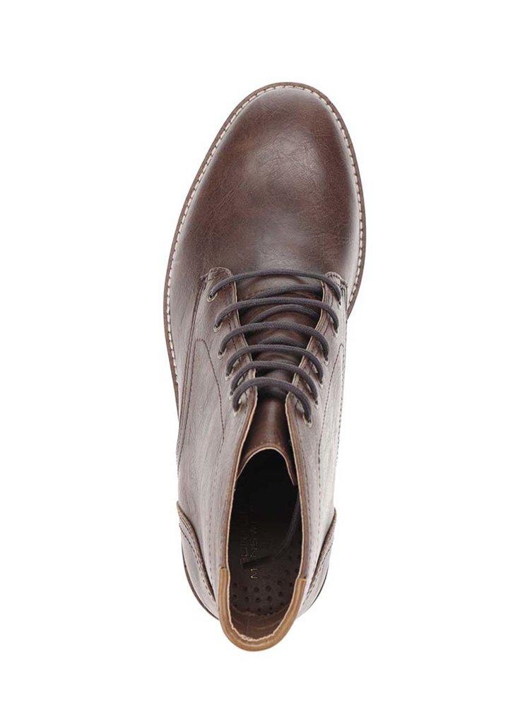 Tmavě hnědé kotníkové boty Burton Menswear London
