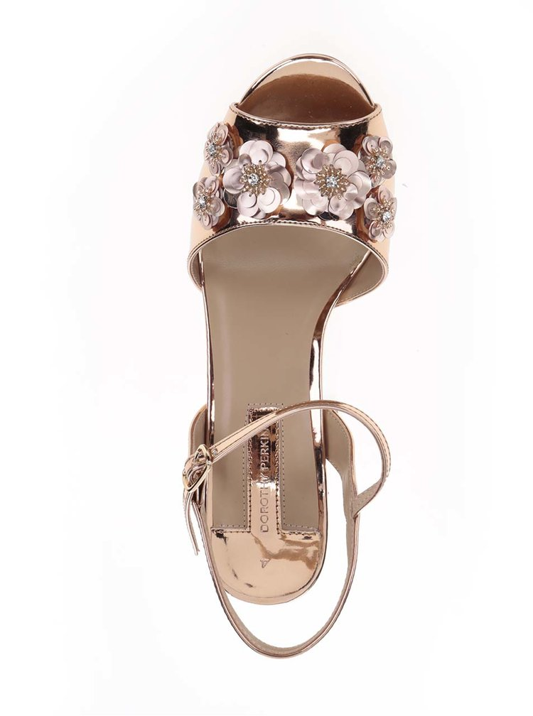 Sandale aurii Dorothy Perkins cu aplicații florale