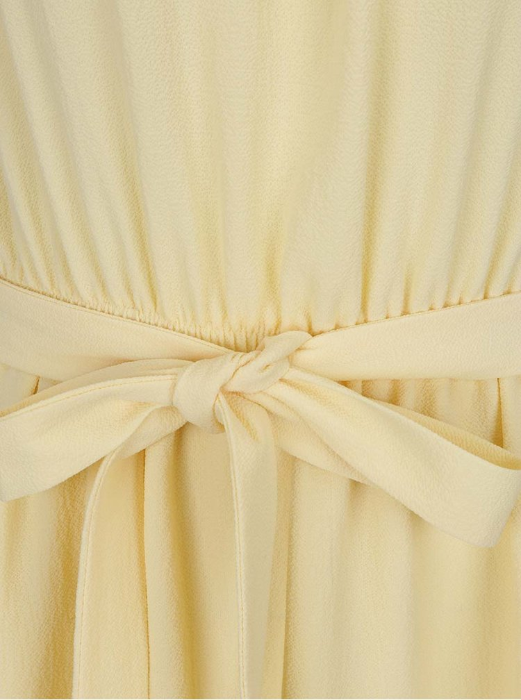 Rochie galbenă MIss Selfridge cu volan amplu
