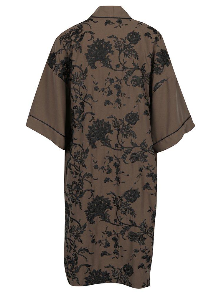 Khaki květovaný lehký kabát Miss Selfridge