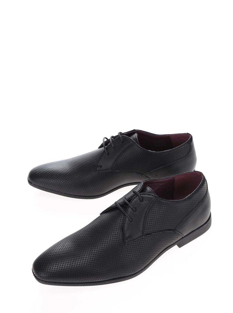 Černé perforované polobotky Burton Menswear London