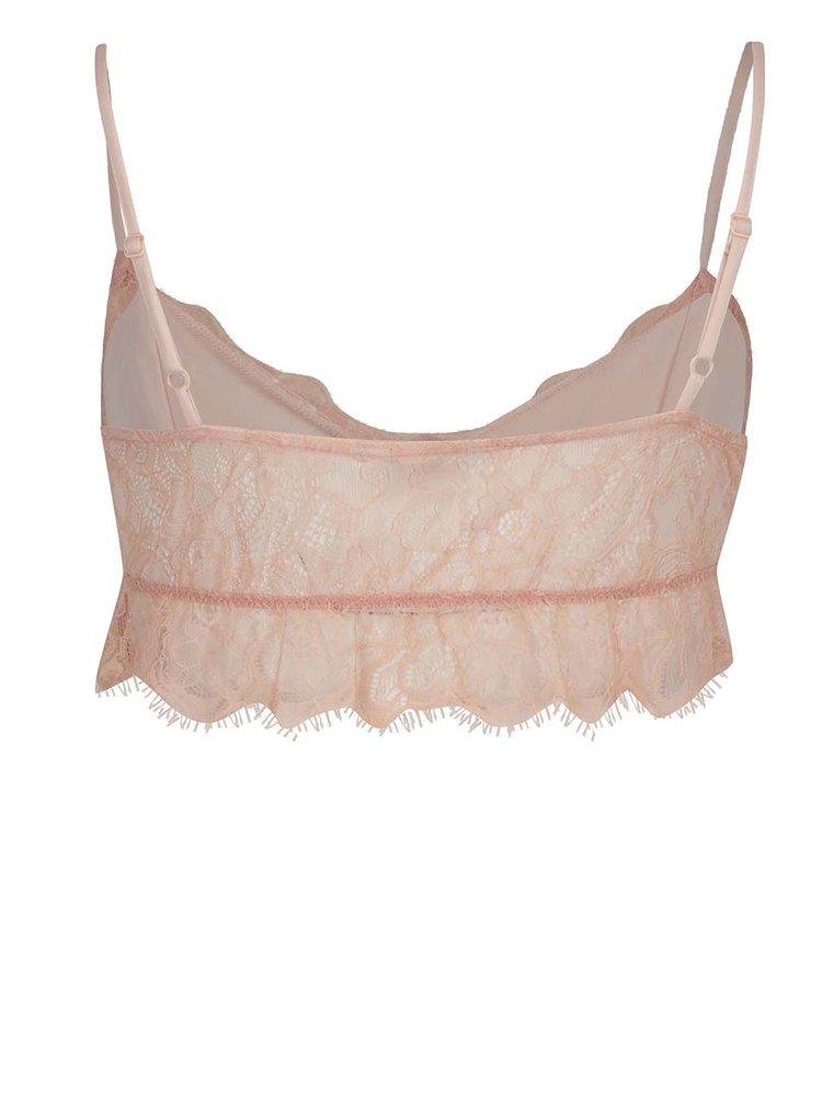 Bustier roz pal Miss Selfridge din dantelă