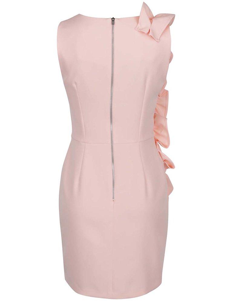 Růžové pouzdrové šaty s volány na boku Miss Selfridge
