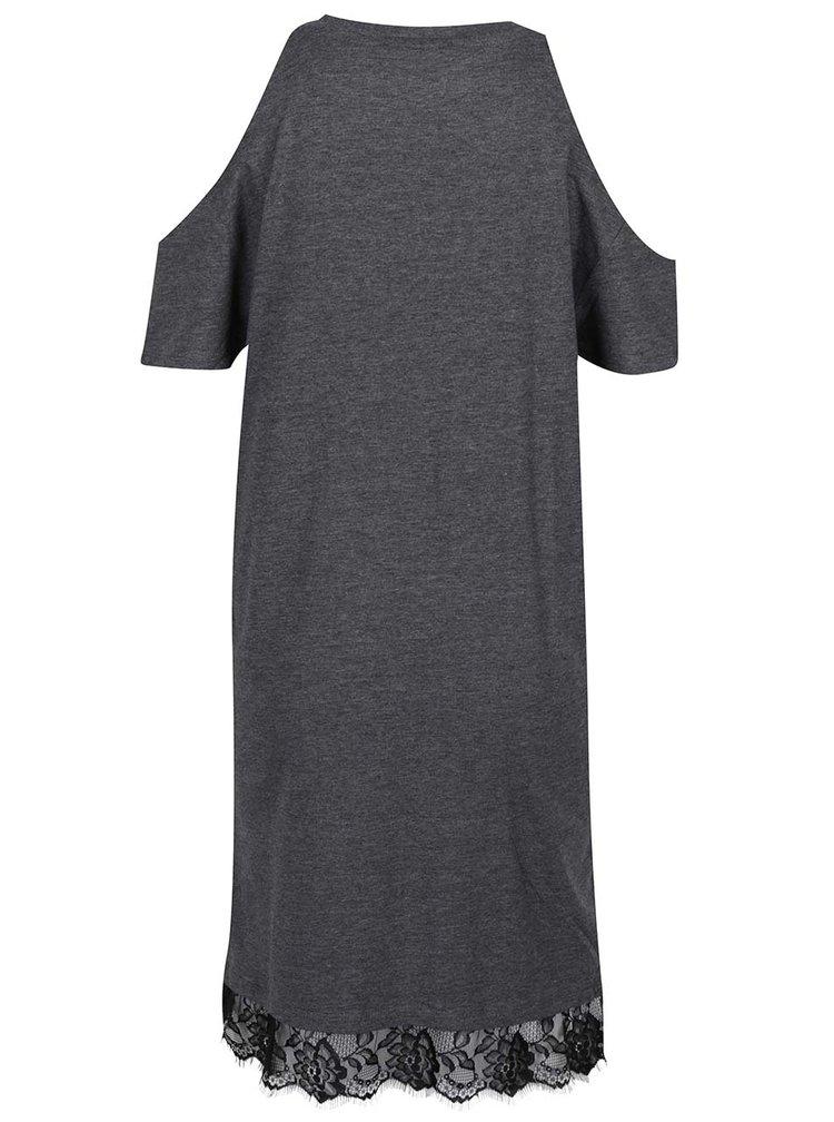 Tmavě šedé šaty s průstřihy na ramenou Miss Selfridge