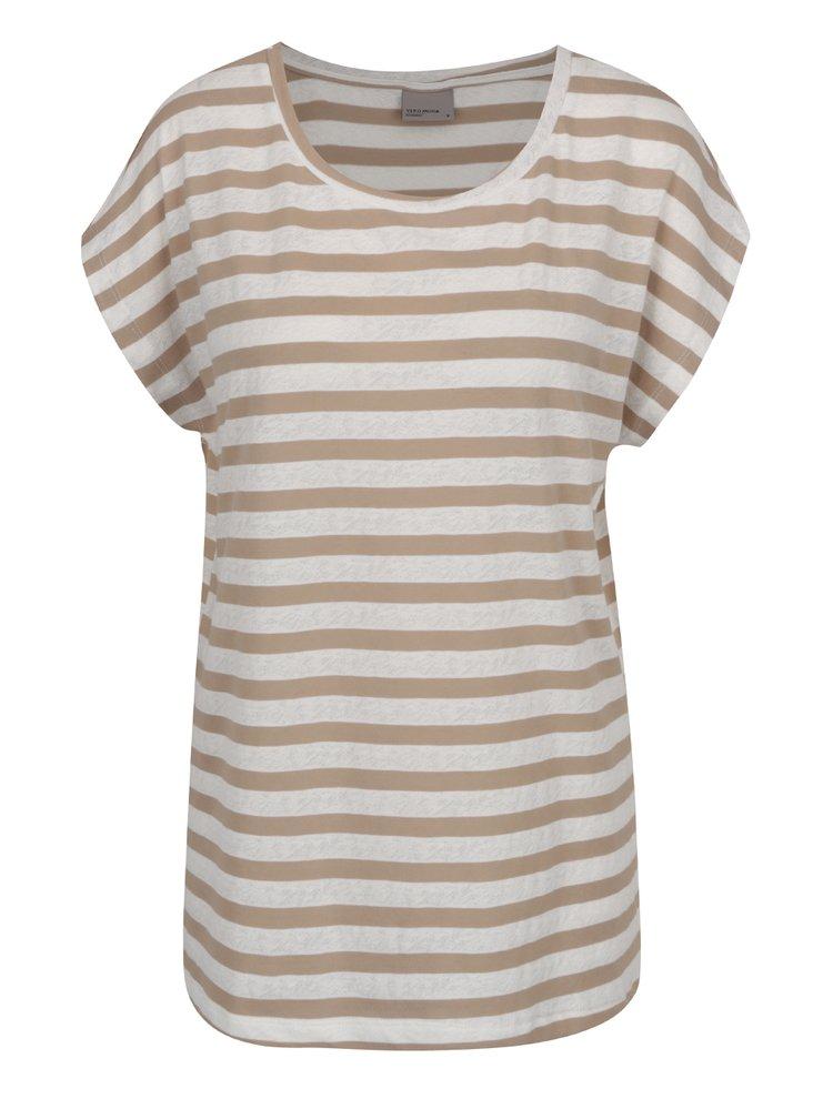 Krémovo-hnědé pruhované volné tričko VERO MODA Mandy