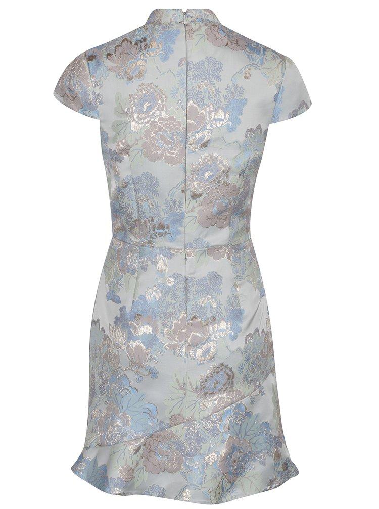 Světle modré květované šaty s detaily ve zlaté barvě  Miss Selfridge