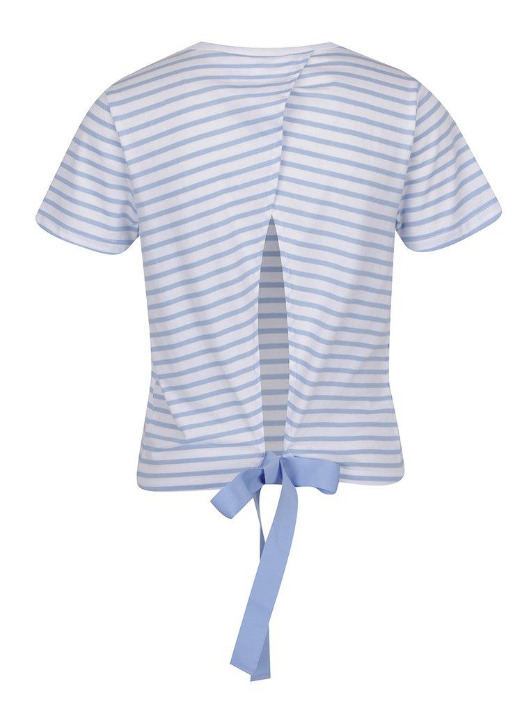 Modro-bílé pruhované tričko s rozparkem Miss Selfridge