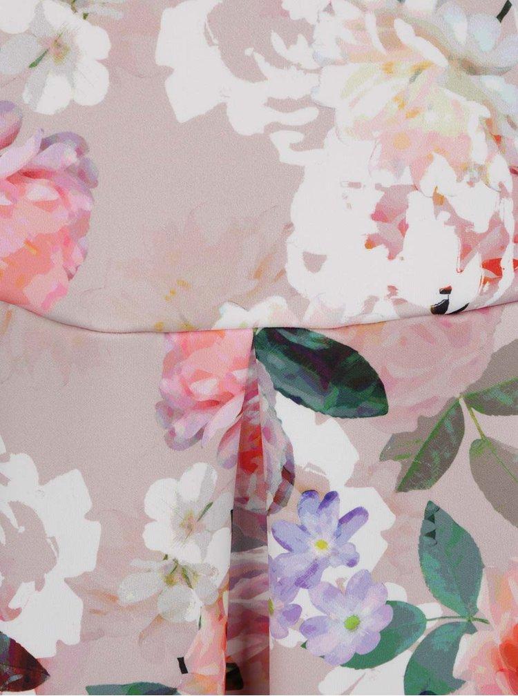 Rochie bej cu imprimeu floral Dorothy Perkins Curve cu decolteu pe umeri