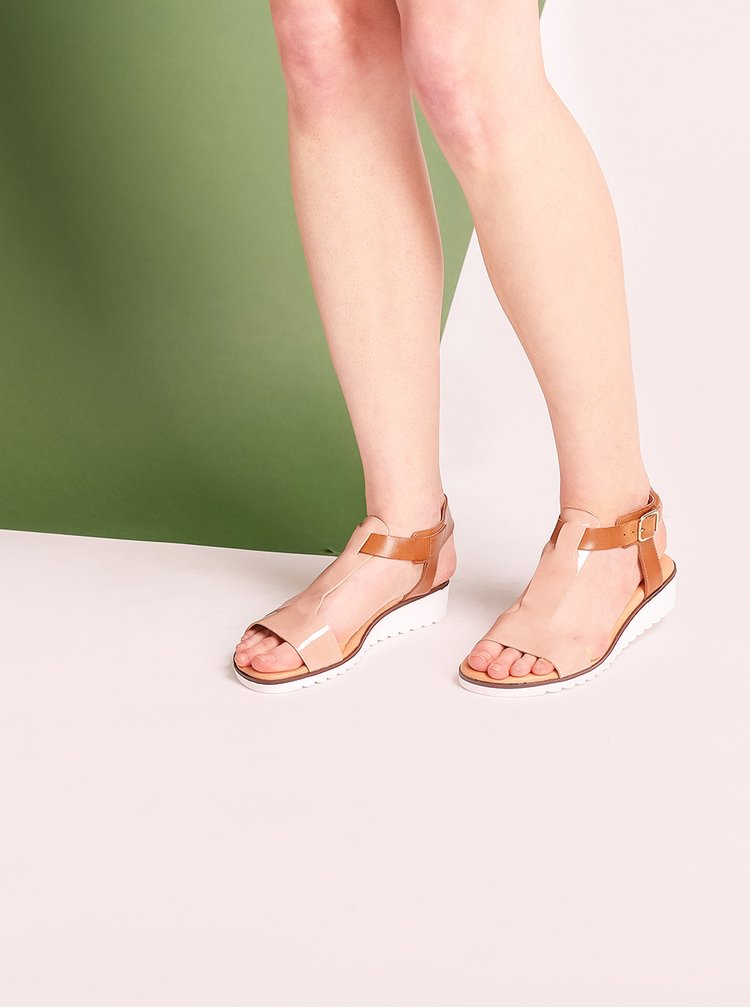 Hnědo-béžové kožené sandály OJJU