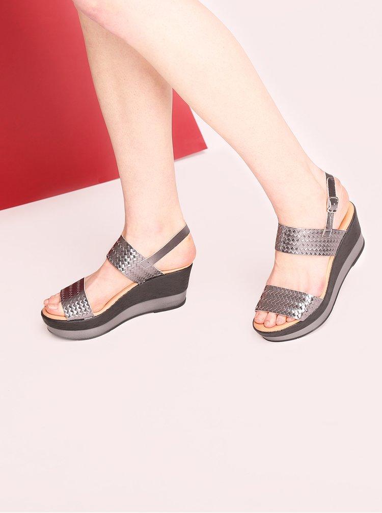 Tmavě šedé kožené sandálky na platformě OJJU