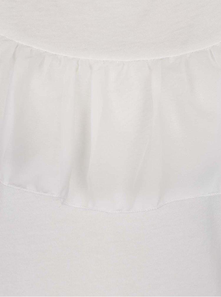 Top alb ONLY Tascha cu volan amplu
