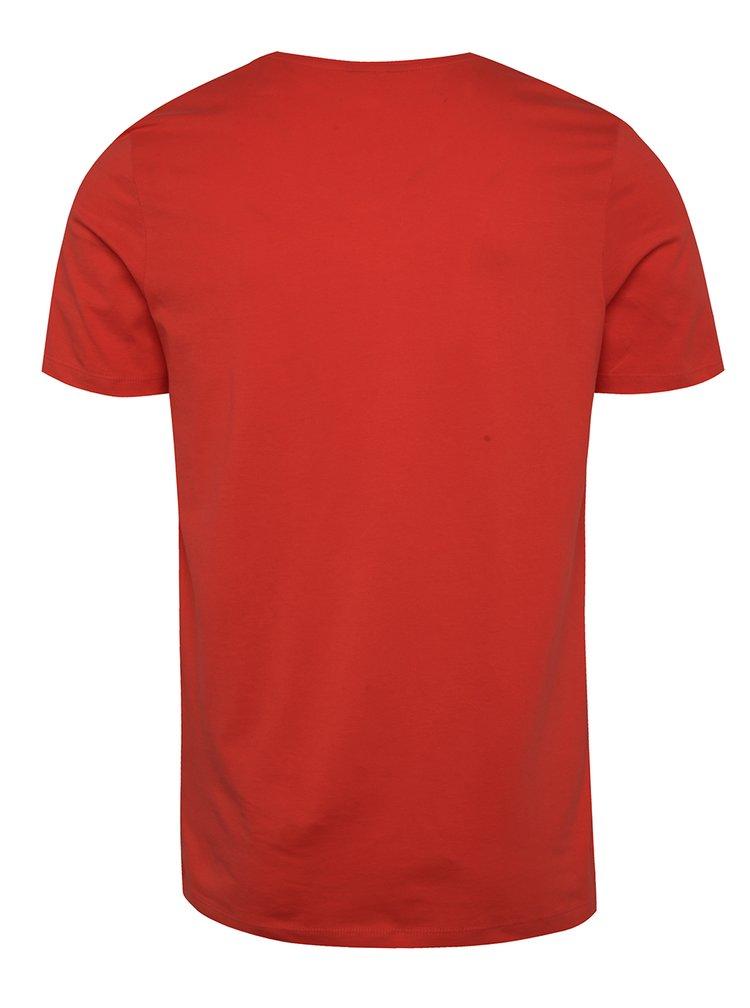 Tricou roșu Jack & Jones Coston cu print