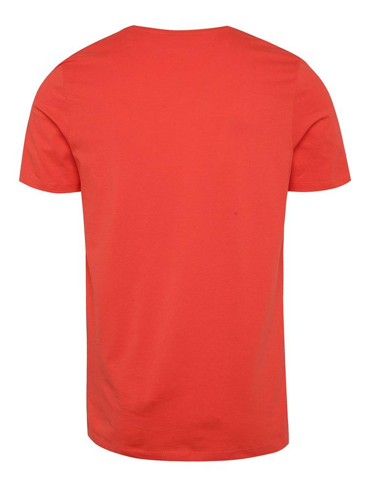 Tricou roșu Jack & Jones Cologo cu print