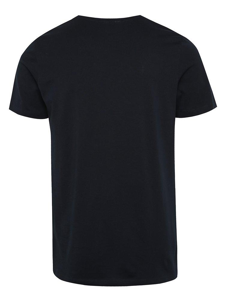 Tricou bleumarin Jack & Jones Cologo cu print