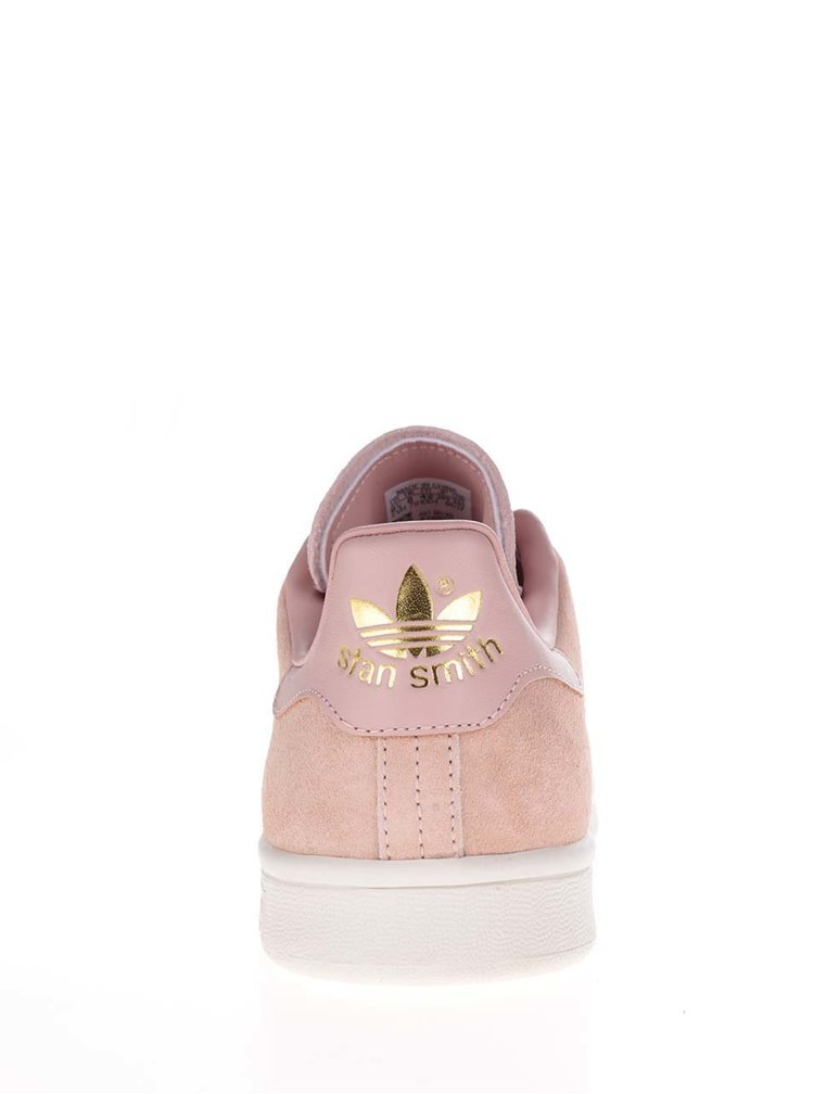 Pantofi sport roz cu detaliu auriu adidas Originals -Stan Smith